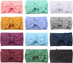 12 PACK Elastic Stretchy Super Soft Nylon Wide Bowknot Headbands Hairband Bows Knot Turban Headwraps Hair Bows Accessories for Kids Toddler Infant Newborn Baby Girl Bulk