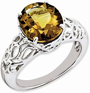 925 Sterling Silver Oval Whiskey Quartz Band Ring Size 7.00 Gemstone Fine Jewelry Gifts For Women For Her