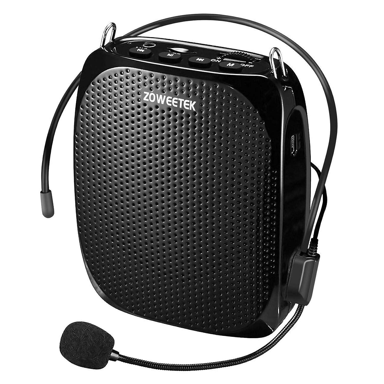 ZOWEETEK ハンズフリー拡声器 小型 スピーカー ポータブル マイク付き 快適 ヘッドセット付き 音声アンプ USBメモリー?microSDカード対応 講義、運動会、防災用、店頭販売、スポーツインストラクターなどに最適!!!