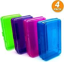Emraw Multipurpose School Pencil Box - Glitter Bright Color Box Pencil Case with Snap Close Long Lasting Pencils School case Math Pencil Box Plastic Pencil Case Plastic Stationery Case (4-Pack)