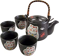 Japanese White Lucky Cat Infuser Teapot Kettle with 4 Handleless Tea Cups Gift Set