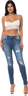 Aphrodite Mid Rise Jeans for Women - Skinny Womens Distressed Ripped Jeans