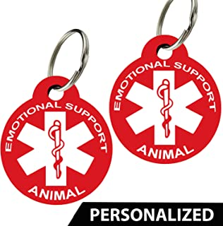 CNATTAGS Service Animals - Pet ID Tags, Various Shapes and Colors, Doubled Sided Emotional Support Animal, Premium Aluminum (Set of 2)