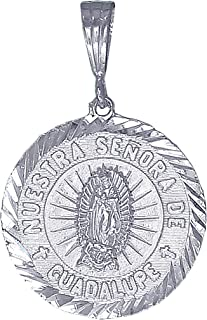 Sterling Silver Virgin Mary Pendant Necklace Medallion Nuestra Senora De Duadalupe