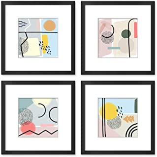 ArtbyHannah 12x12 Inch 4 Pcs Black Picture Frame Collage Set for Wall Art Decor with Modern Geometric Abstract for Home De...