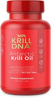 Antarctic Krill Oil by KrillDNA   1000 mg/Serving. with Astaxanthin, Omega 3, DHA, EPA, and Phospholipids. 120 Softgels. Vanilla Coating, No Smell, No Fishy Taste   (60 Servings)