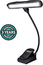 Rechargeable Clip-on Music Stand Orchestra Light- 10 Bright LEDs Last for 50 Hours on a Single Charge- Includes USB Cord, Wall Plug, and Carrying Bag- Also for Reading, DJs, Artists, Crafting