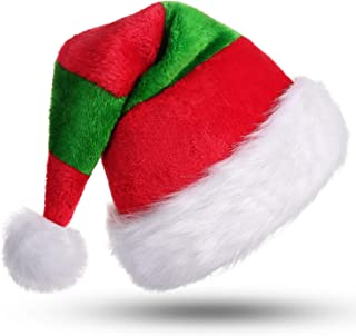 Phyxin Santa Hat Christmas Hat for Adults Stripe Santa Hats for Adults Luxury Plush Hat Classic Christmas Hats for Women Men Unisex Santa Claus Hats Xmas Caps Decoration Red&Green