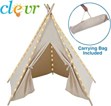 Clevr 6' Kids White Teepee Play Tent Houses, 100% Cotton Ready-to-Paint Canvas, Great for Indoors & Outdoors, Large 5 Sides