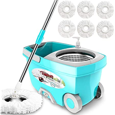 """Tsmine Spin Mop Bucket System Stainless Steel Deluxe 360 Spinning Mop Bucket Floor Cleaning System with 6 Microfiber Replacement Head Refills,61""""Extended Handle, 2x Wheel for Home Cleaning - MINT"""