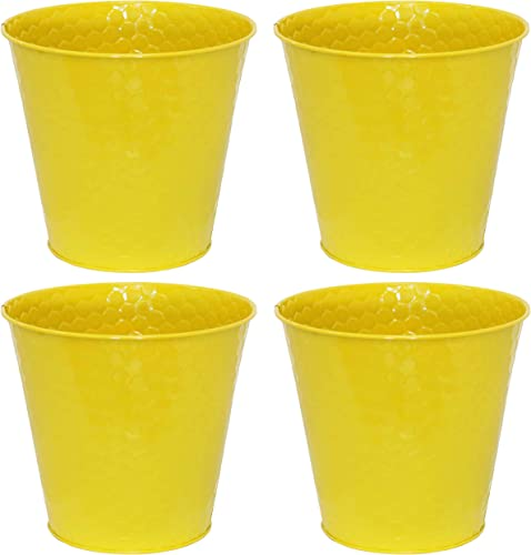 wholesale Sunnydaze Galvanized Steel Buckets with Hexagon Pattern - Set of 4 - Yellow - Small sale Colored Metal Decorative outlet sale Pails - Indoor Use - Perfect for Storage, Decoration, Gardening and Parties online sale