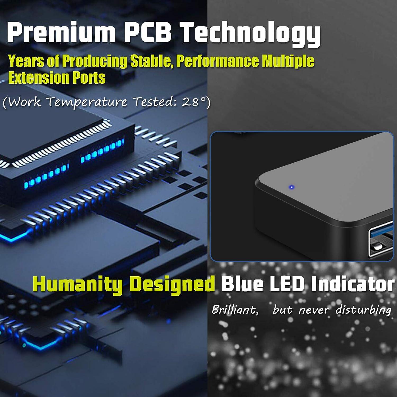4-Port USB Hub 3.0, T-Sound USB Splitter for Laptop, Keyboard and Mouse USB Port Expander for MacBook, Mac Pro, Mac Mini, iMac, Surface Pro, XPS, PC, Flash Drive,SSD, Console, Printer, Camera