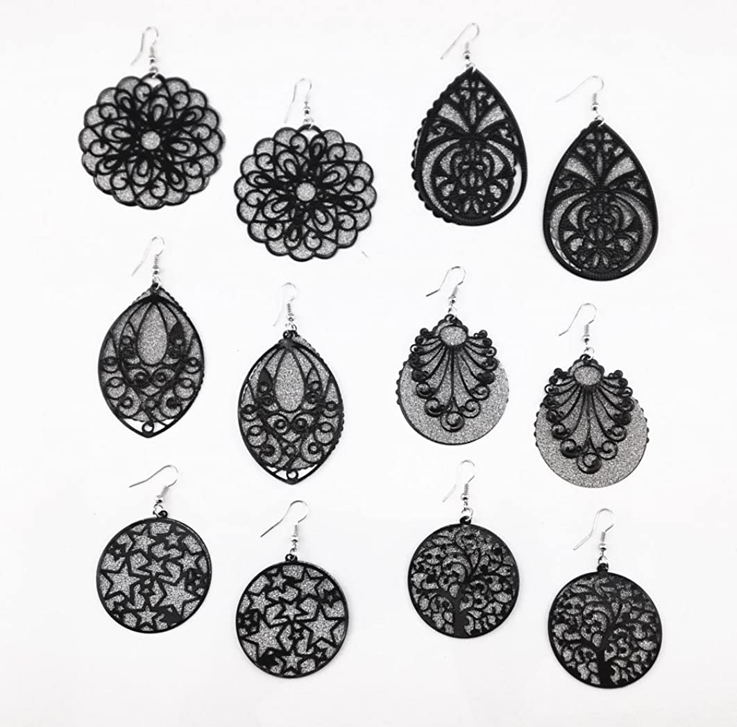 Honbay 6 Pairs Mix Stlyes Hollow Out Frosted Bling Back Tray Dangle Earrings Ear Hooks (Black)