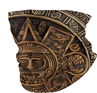 Face Scarf History Close View Of The Ancient Aztec Calendar Mayan Civilization-1 Neck Gaiter Variety Head Scarf Scarf Bandana