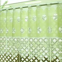 【メール便 送料無料】 カフェカーテン スイートカラー 14222 グリーン 50cm丈 × 巾130cm (ウォッシャブル)