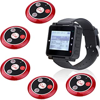 Retekess T128 Restaurant Pager System Calling System Call Buttons System Pager with Service Multi Purpose for Restaurant 5 Pager 1 Wrist Watch Pager