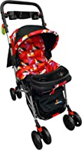 SUNBABY Stroller Comfortable Light Weight Foldable Prams Strolley for Baby with Mosquito Net (Delux-Red)