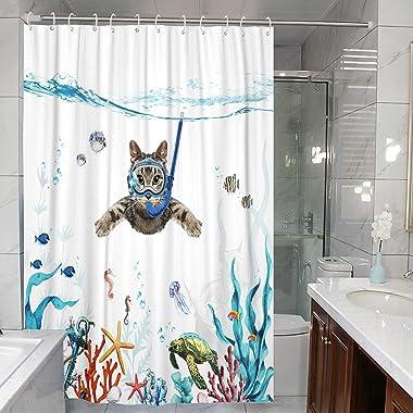 Fowocu Funny Cat Shower Curtain Set Teal Blue Sea Ocean Waterproof Fabric Shower Curtains with Animal Octopus Starfish Turtle