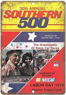 AMELIA SHARPE 1979 Southern 500 NASCAR Darlington Raceway Retro Look Metal Sign 8x12 Inch Tin Sign