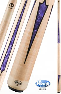 Viking A438 Pool Cue Stick 20 Black (IMA) and Purple Premium Pearl Inlays | Khaki Stain | Select Birdseye Maple - Quick Release Joint ViKORE Shaft 18, 18.5, 19, 19.5, 20, 20.5, 21 oz.