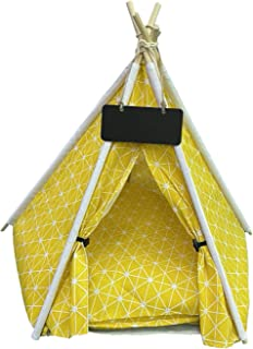 24x7 eMall Yellow Pet Tent House Canopy Dog & Cat Bed with Cushion- Luxury Dog Tents & Pet Houses with Cushion & Blackboar...