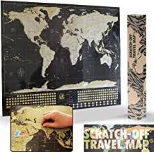 Scratch Off Map of The World XL Poster (33 x 23 inch) - Made in Europe - Black and Gold with Silver Mountains and Real Sea Bottom | Country Flags and The World's 50 Most Tourist Attractions