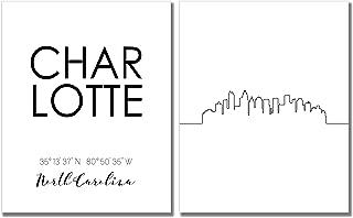 N&T Charlotte City Skyline Wall Décor Prints - Set of 2 (8x10) Art Photos - Typography Minimalist Poster
