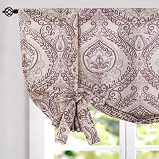jinchan Tie Up Curtains Shade for Living Room Damask Printed Paisley Rod Pocket Drapes Multicolor Medallion Flax Window Curtain 1 Panel 54 inches Long Purple