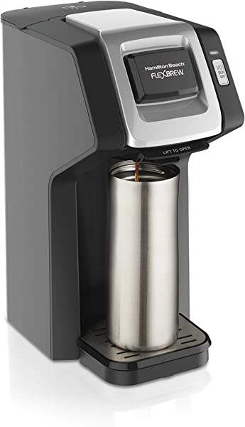 Hamilton Beach 49974 Single Serve Coffee Maker Compatible With Pod Packs And Ground Coffee Flexbrew Black