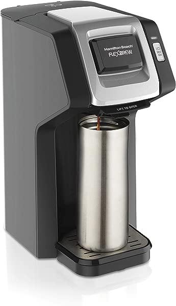 汉密尔顿海滩 49974 单服务咖啡机兼容豆荚包和研磨咖啡 Flexbrew 黑色