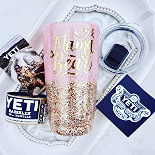 MAMA Bear 20 Ounce YETI RAMBLER Tumbler, Gift For MOM, Double Walled Stainless Steel, Pink Pearl Glitter Custom Chunky Gold Mix, Sealed FDA Epoxy Resin, MAGSLIDER LID