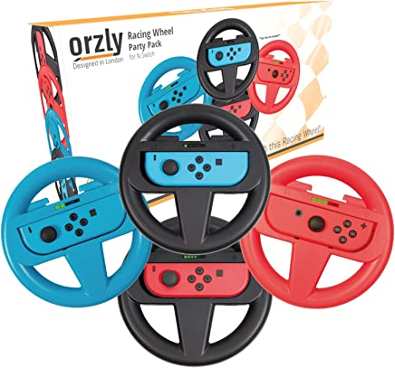 Orzly FOUR PACK of Steering Wheels for playing Mariokart on Nintendo Switch (1 RED, 1 BLUE, and 2 BLACK Wheels) - Bundle includes 4 Steering Wheel Attachments only (Console and Joy-Cons not included)