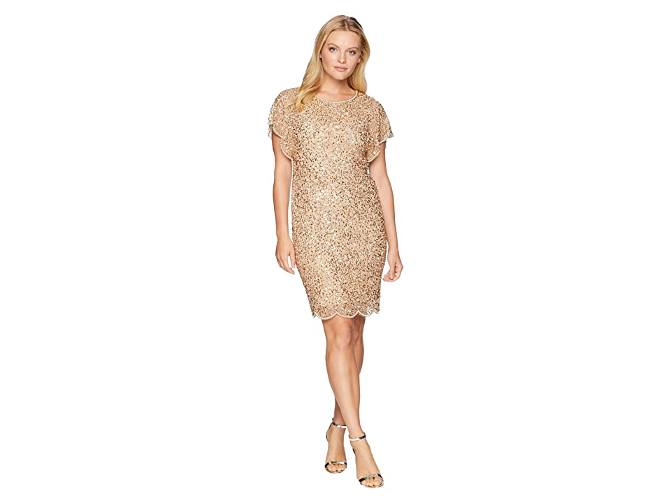 Adrianna Papell Petite Flutter Sleeve Crunchy Bead Cocktail Dress (Champagne/Gold) Women