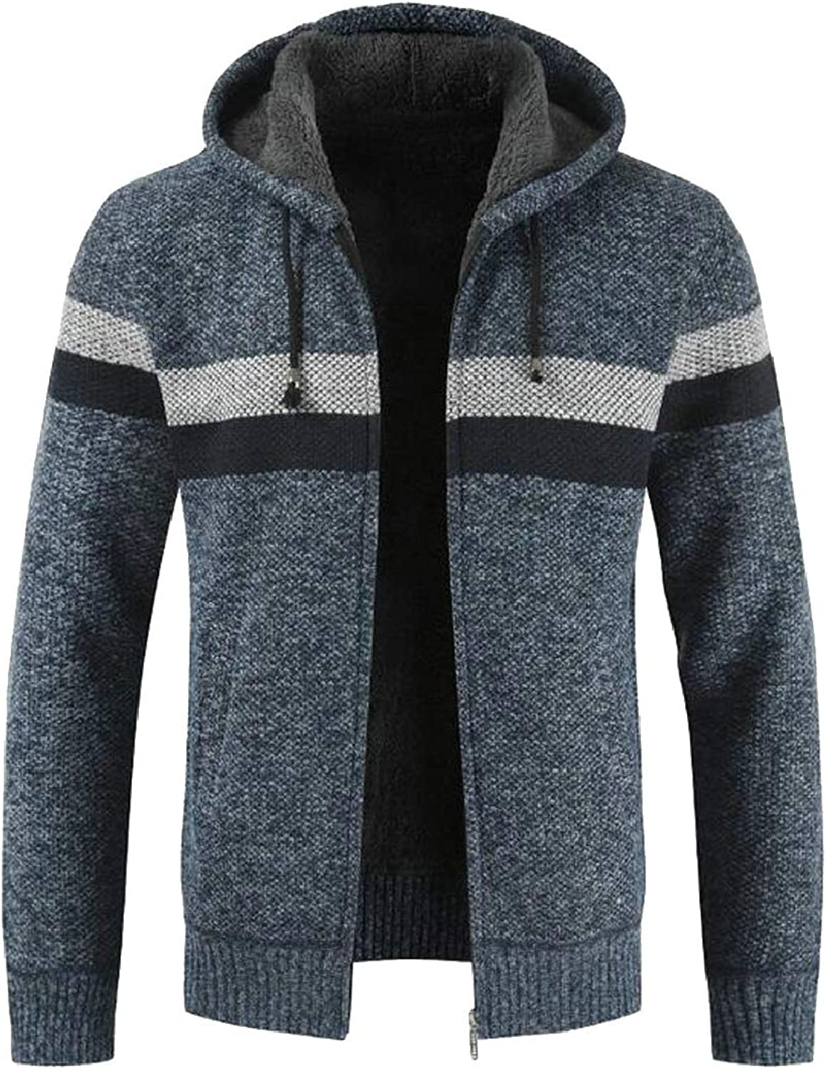 QD-CACA Mens Warm Long Sleeve Fleece Lined Hooded Cardigan Sweater