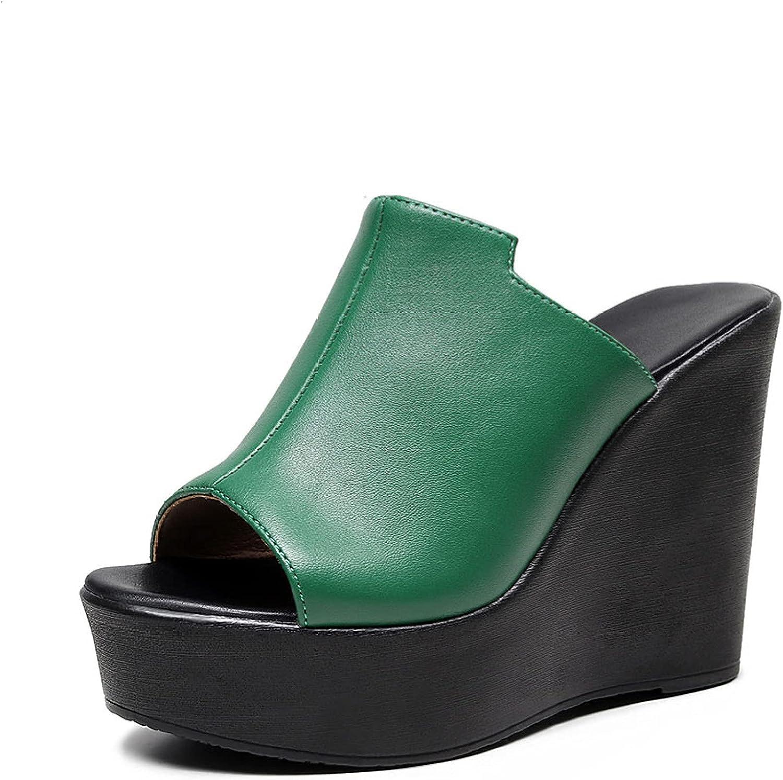 Btrada Women's Summer High Heel Slip On Sandals Comfort Peep Toe Slip On Wedge Slide Waterproof Leather Platform Ladies Shoes