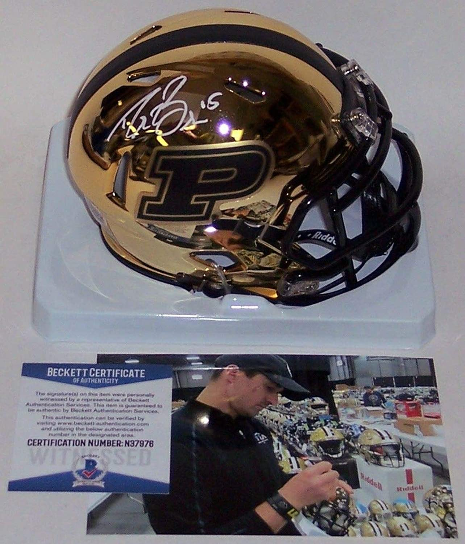Drew Brees Autographed Hand Purdue Boilermakers Chrome Speed Mini Helmet  BAS Beckett