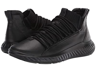 ECCO ST.1 Lite Mid Cut Sneaker (Black/Black/Black) Men