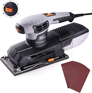 Sheet Sander, Tacklife 1/2 Finishing Sander, 12,000Rpm Variable Speed Palm Sander with High Performance Dust Collector, Hook-and-Loop Base Pad, Aluminum Base Plate