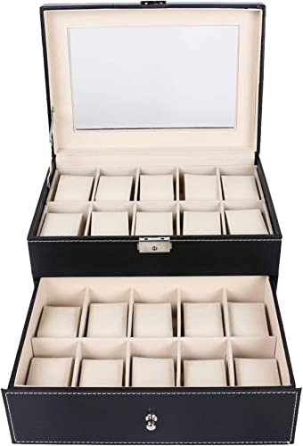 discount labworkauto Leather high quality discount Watch Box Display Case Organizer Glass Storage 20 Slot Black outlet online sale