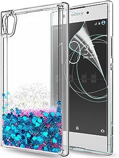 ecda84d77ff LeYi Funda Sony Xperia XA1 Purpurina Carcasa con HD Protectores de  Pantalla, Brillante Ballistic Liquida