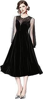 Babalet Women's Elegant Vogue Round Neck Long Sleeve Midi Velvet Lace Stitching Big Swing Evening Dress
