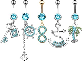 5Pcs Dangle Belly Button Rings Set Navel Surgical Stainless Steel 14G Body Piercing Jewelry