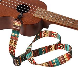 GONKISS ウクレレストラップ ギタレレストラップ ミニギター サウンドホールに引っ掛ける フックタイプ 穴開け不要 長さ調整可能 民族柄 緑