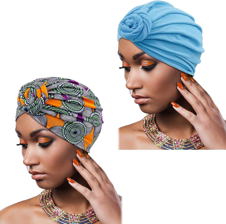 Madison Turban Kopfbedeckungen f/ür Frauen mit afrikanischem Knoten /& gewebtem Lurex-Faden f/ür zus/ätzlichen Schimmer und Komfort f/ür Krebs
