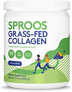 Sproos Premium Grass-Fed Collagen Peptide Powder | Pasture-Raised, Non-GMO and Gluten-Free | Unflavored and Odorless (Large Tub)