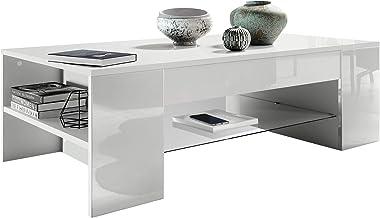 Vladon Table de Salon Table Basse Clip en Blanc avec des Bordures en Blanc Haute Brillance