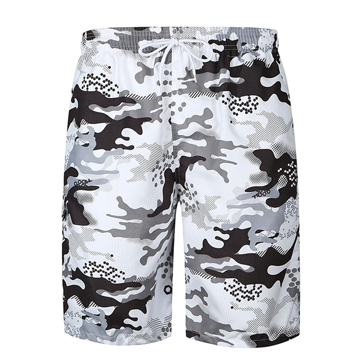 AMSKY?Mens Swim Trunks,Fashion Printing Beach Quick -Drying Home Adjustable Sportwear Running Surfing Shorts