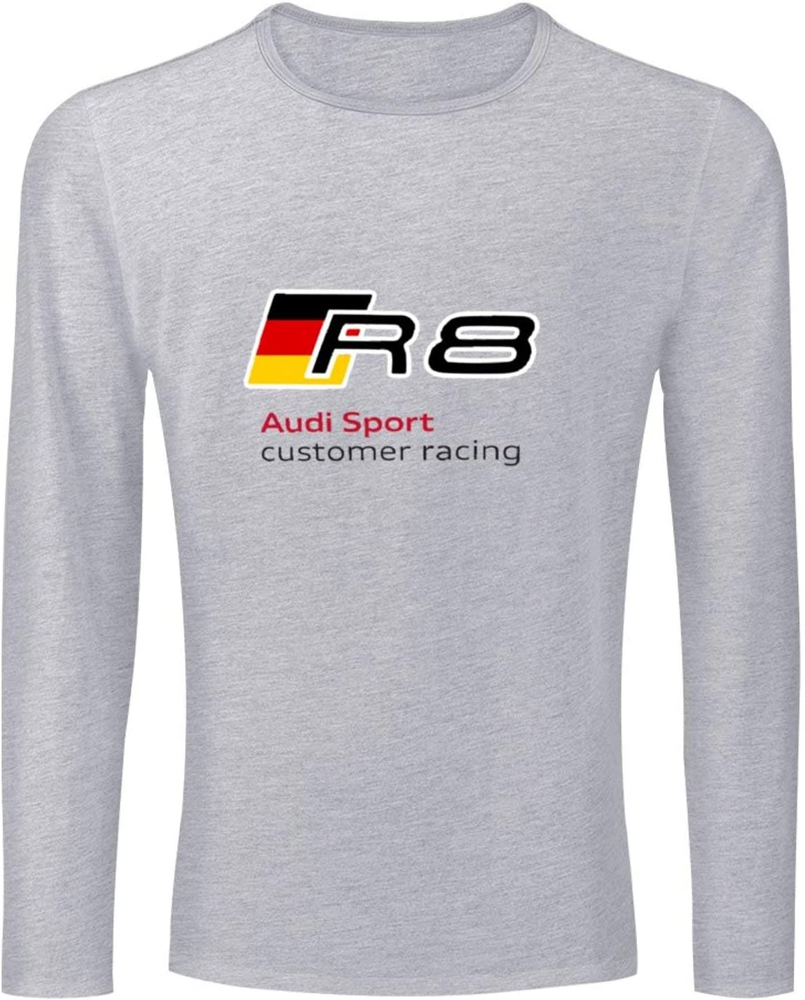 BAIKUTOUAN German Flag Au-di R8 Sport Mens Long Sleeve T-Shirts Classic Crew Neck Jersey Tees Shirt