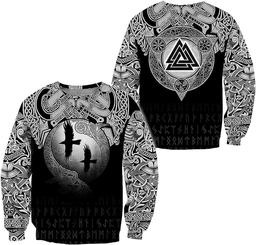 Norse Viking Odin Raven Hoodie, Unisex 3D Printed Tattoo Crow Casual Streetwear Pullover Sweatshirt