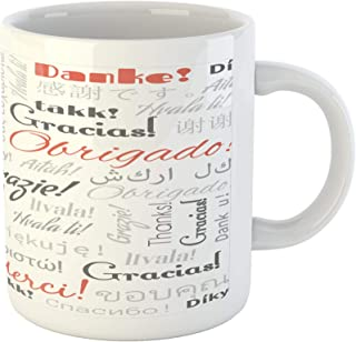 Lunarable Multinational Global Mug, Thank You Phrase in Different Languages of the World Multilingual, Ceramic Coffee Mug Cup for Water Tea Drinks, 11 oz, Salmon Grey